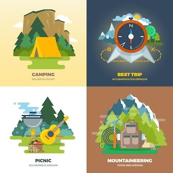 アウトドアアドベンチャーキャンプフラット背景コンセプトセット。キャンプとピクニック、登山と旅行、ベクトル図