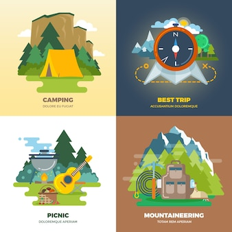 Outdoor adventure camp flat background concept set. camping and picnic, mountaineering and trip, vector illustration