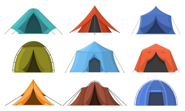 야외 모험 캠핑 여행용 수면 텐트. 하이킹, 여행 레크리에이션 관광 나머지 텐트 벡터 일러스트 레이 션 세트. 야외 숙박 캠핑 텐트