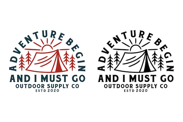 Outdoor and adventure emblems, sticker, label badge set