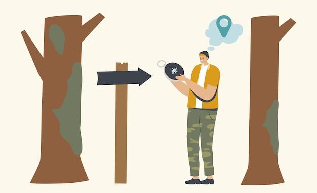 Приключения на свежем воздухе, пешие прогулки, отдых. мужской персонаж стоит у указателя дороги заблудиться в лесу. человек ищет направление с помощью компаса