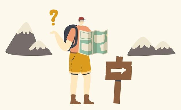 야외 모험, 하이킹 레크리에이션. 도로 포인터에 서 있는 남성 캐릭터는 산에서 길을 잃습니다. 지도를 사용하여 방향을 찾는 남자