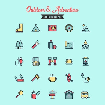 Outdoor and adventure icon vector filled outline style