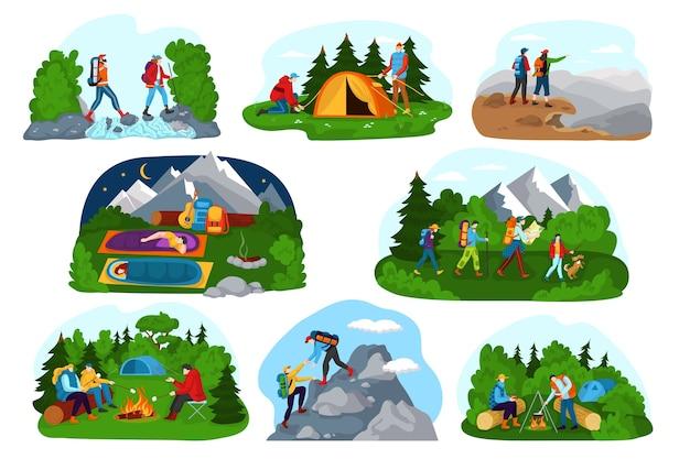 Набор иллюстраций приключений на открытом воздухе