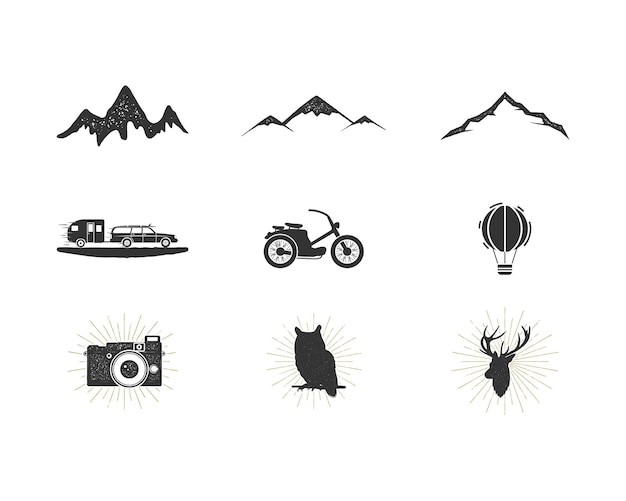 Outdoor adventure silhouette icons set. surfing and camping shapes collection. simple black pictograms bundle. use for creating logo, labels and other hiking, surf designs. vector isolated on white.