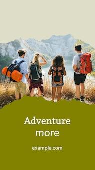 소셜 미디어 스토리를 위한 야외 모험 템플릿 벡터
