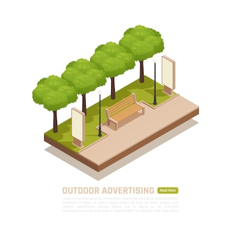 Outdoor advertisement isometric banner with billboards in a city park