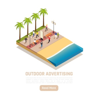 Banner isometrico pubblicitario per esterni con costa e persone che camminano
