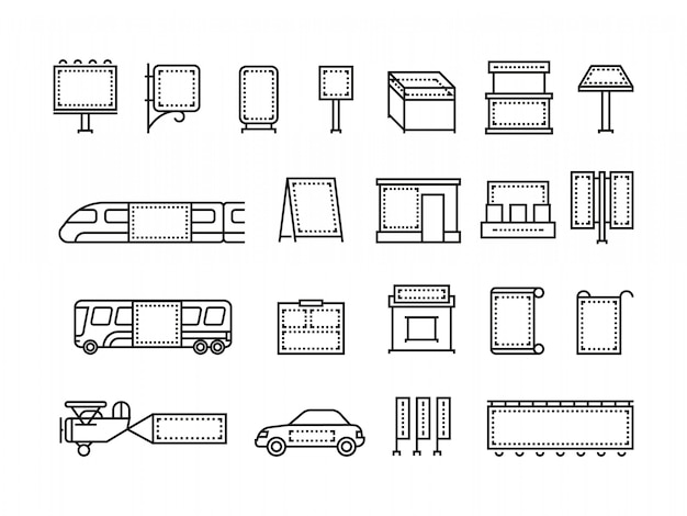 Outdoor advertising banners and transport advertise line icons