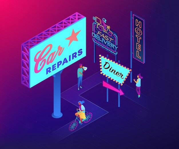 Иллюстрация концепции 3d дизайна наружной рекламы равновеликая.