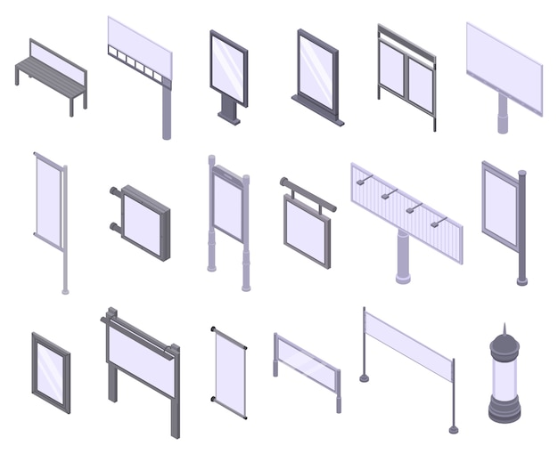 Outdoor advertising icons set, isometric style