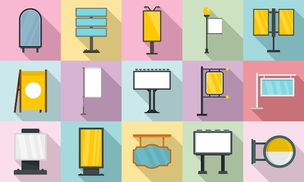 Outdoor advertising icons set