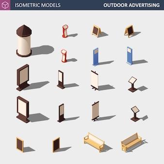 Набор средств массовой информации наружной рекламы - изометрические иллюстрации.
