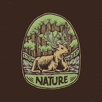 自然の中で鹿の屋外バッジ