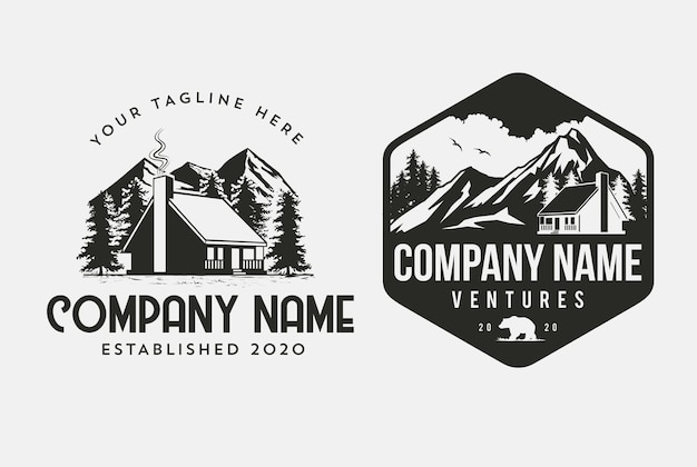 Шаблон логотипа outdoor cabin для компаний по аренде домов и дизайна альпинистов