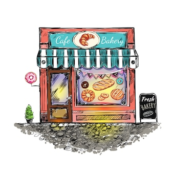 야외 카페 베이커리 스케치