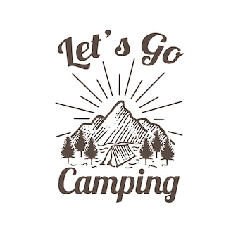 Outdoor camping adventure and mountain illustration