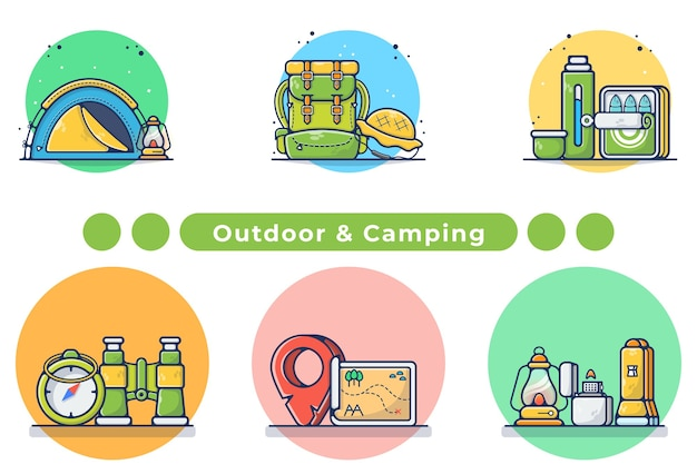Outdoor and camping gears illustration in hand drawn