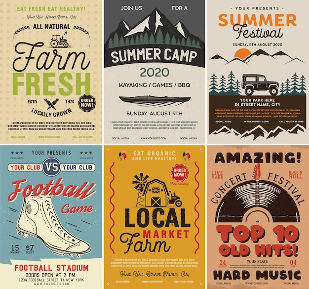 Outdoor camping and rock music flyers set, a4 format. adventure posters graphic design. vector