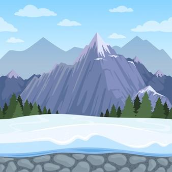 구호의 야외 만화 언덕 풍경 다양 한 종류의 벡터 그림