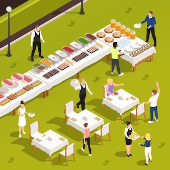 Кейтеринг на открытом воздухе, корпоративные мероприятия, частные торжества, обслуживание с белым полотном, патио, садовые столы, буфет, закуски, напитки, иллюстрация