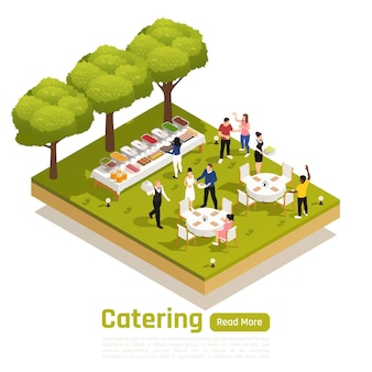Outdoor catering service banner illustration