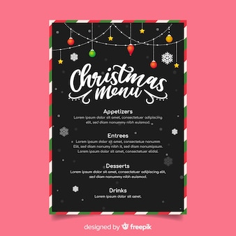 Outdoor christmas string lights menu template