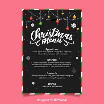 Outdoor christmas string lights menu template