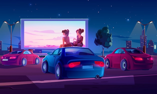 Outdoor cinema, open air movie theater with cars