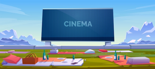 Outdoor cinema with picnic blankets illustration