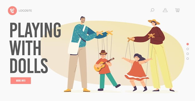 Outdoor concert landing page template. street artists puppeteer characters performing puppet show with marionette dolls. masters manipulate toys dancing on strings. cartoon people vector illustration