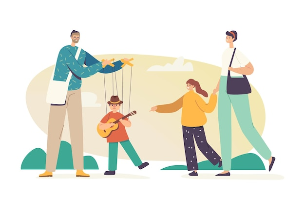 Outdoor concert, master manipulate puppet toy playing guitar hanging on strings. street artist puppeteer character performing show with marionette doll for family. cartoon people vector illustration