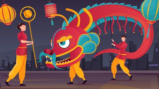 Outdoor dragon dance in chinese new year celebration flat illustration
