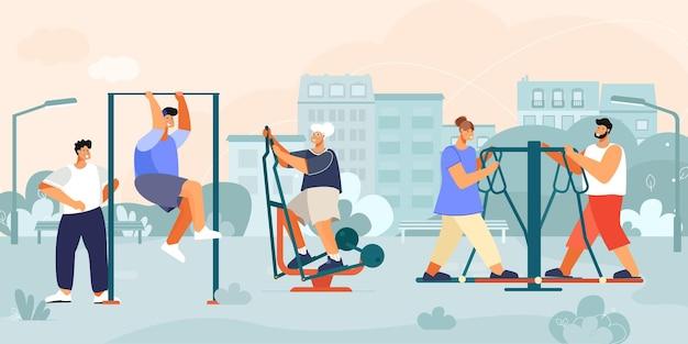 Composizione di macchine per esercizi all'aperto con paesaggio del parco urbano con case e attrezzature per l'allenamento pubblico con illustrazione di persone
