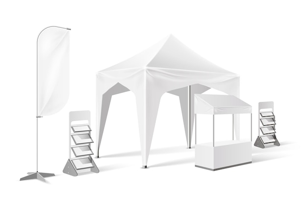 Outdoor exhibition tent, presentation pop-up marquee  with banner flag, display shelves,  booth