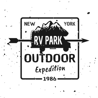 Outdoor expedition vector monochrome emblem, label, badge, sticker or logo with camper van silhouette and mountains isolated on textured background