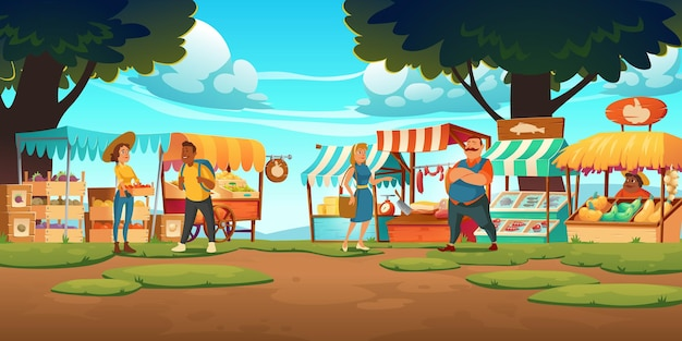 여름날 포장 마차, 공급 업체 및 고객이있는 야외 농장 시장. 박람회 부스, 생태 제품이있는 목재 키오스크
