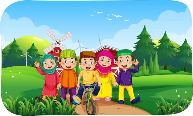 Scena della fattoria all'aperto con molti bambini musulmani