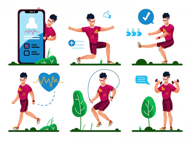 Outdoor fitness exercises flat vector concepts set