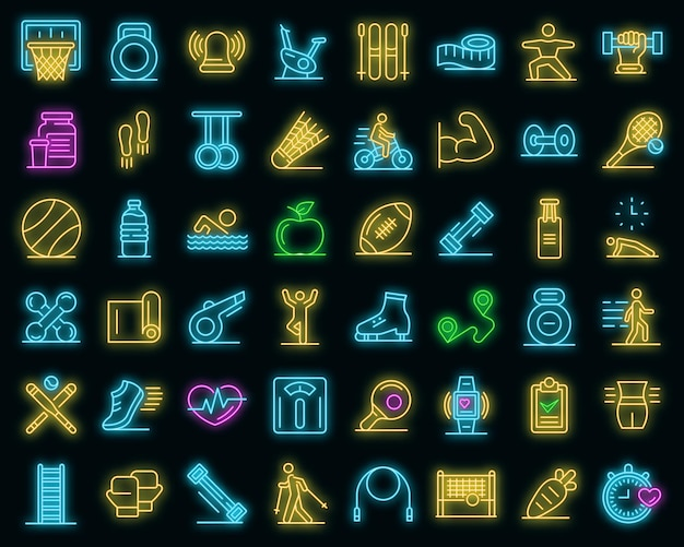 Outdoor fitness icons set. outline set of outdoor fitness vector icons neoncolor on black