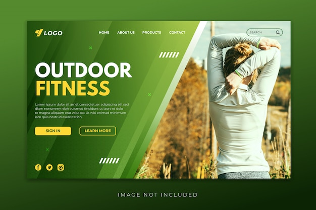 Outdoor fitness landing page template
