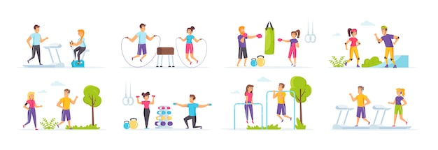 Outdoor fitness set with people characters in various scenes and situations.
