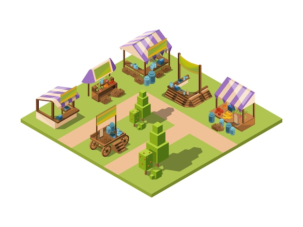 Outdoor food market, isometric local farm grocery marketplaces with vegetables fruits meat and fish farmers country store vector