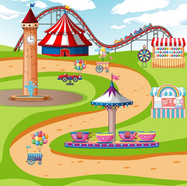 An outdoor funfair scene or background