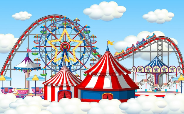 An outdoor funfair scene in clouds