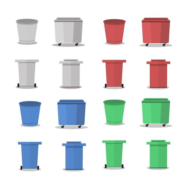 Открытый мусорный контейнер. иллюстрации. красный объект пластиковый контейнер для отходов.