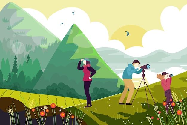 屋外ハイキングの人々のキャラクターは鳥の山と湖を見る