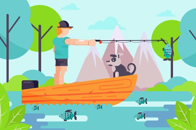 Outdoor hobby male character fisherman hold fishing rod, man with dog relax in boat flat vector illustration, nature landscape.