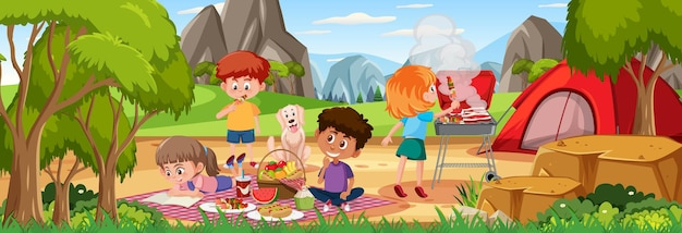 공원에서 가족 피크닉이 있는 야외 수평 장면