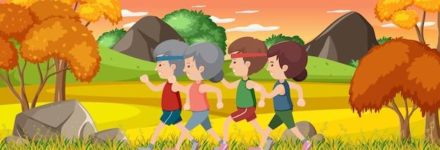 公園でジョギングしている人々との屋外の水平方向のシーン